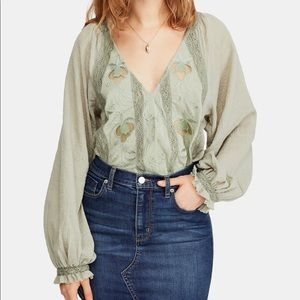 Free People Sivan Embroidered Blouse L